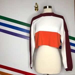 NEW Urban Outfitters Colorblock cropped sweater